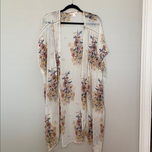 Band of Gypsies Cream Floral Kimono Duster